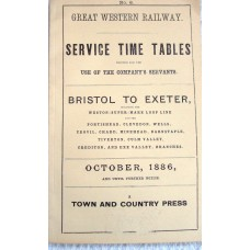 Great Western Railway Service Timetables Bristol Exeter October 1886